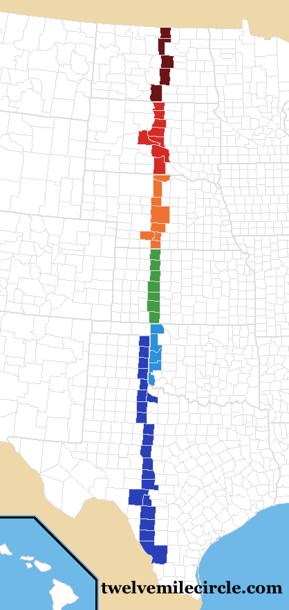 Counties Cut by 100th Meridian