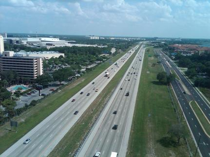 Flying Above Interstate Highway