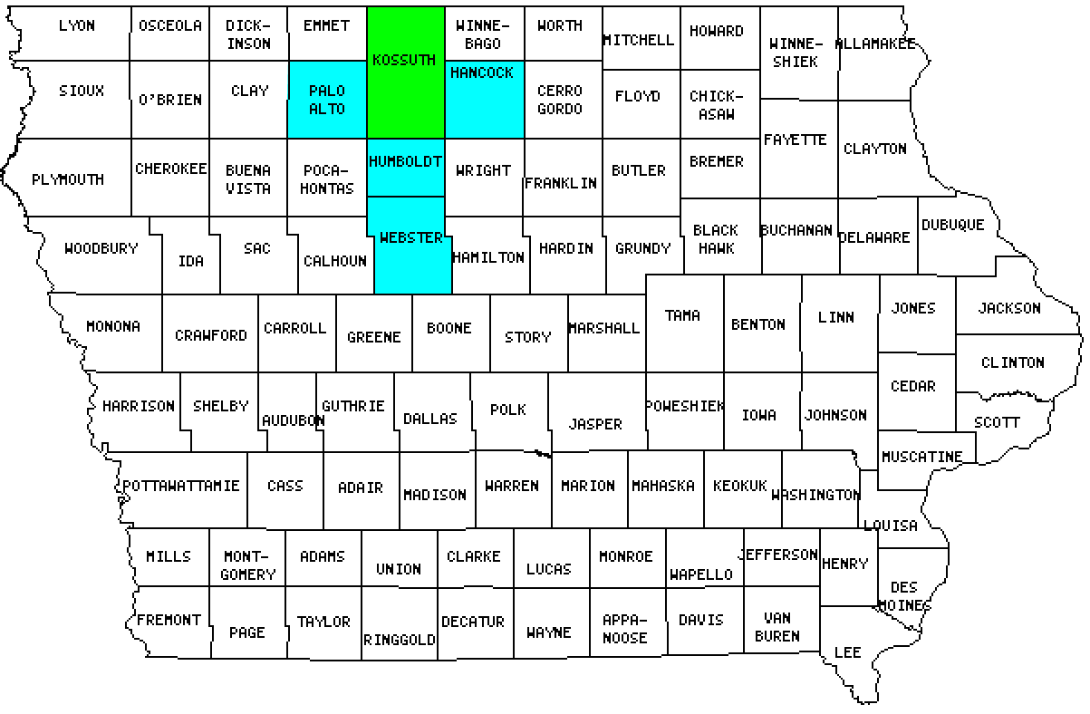 Kossuth County in Iowa