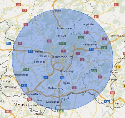 17 kilometre radius around Luxembourg