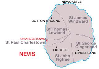 5 Nevis Parishes join at a single point