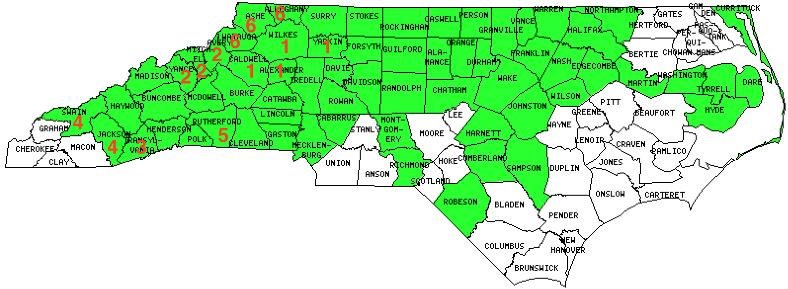 North Carolina County Counting 2015