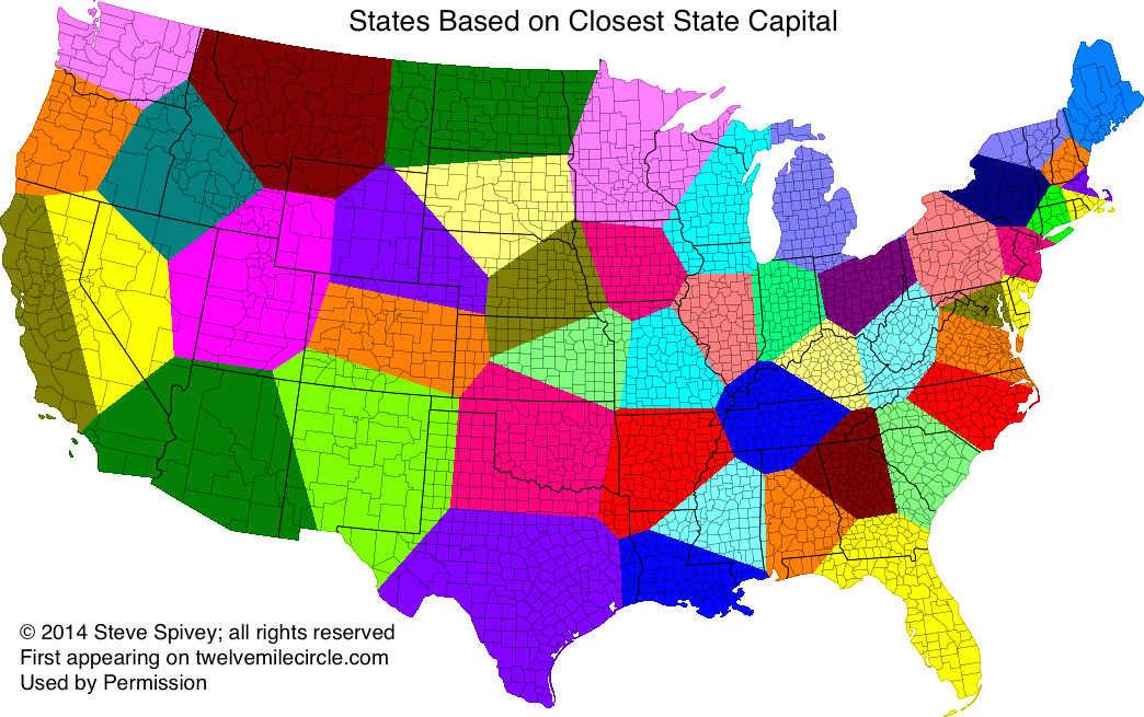 States Based on Closest State Capital