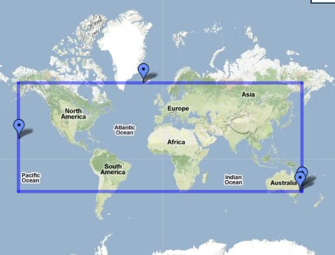 My extreme latitudes and longitudes of travel