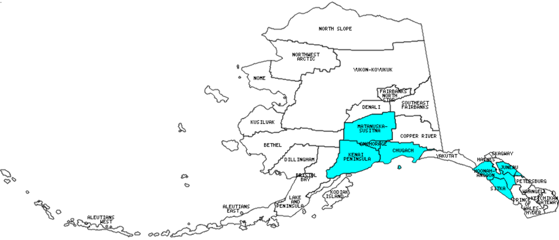 Alaska Boroughs and Census Areas Visited with map highpoint