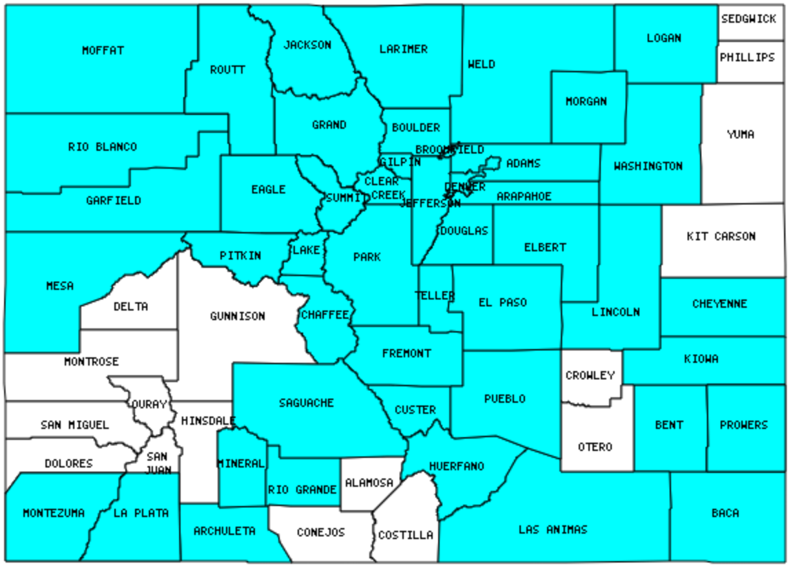 Colorado Counties Visited With Map Highpoint Capitol And Facts - Colorado county map