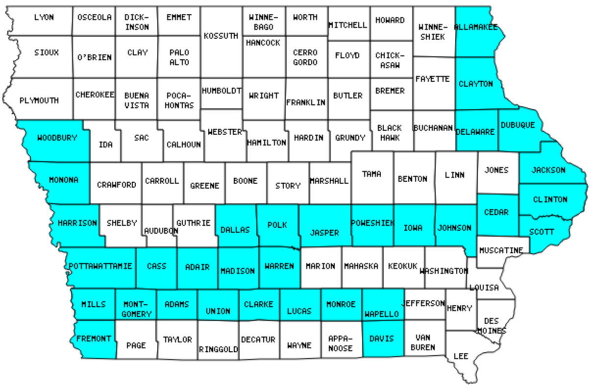 Iowa Counties Visited