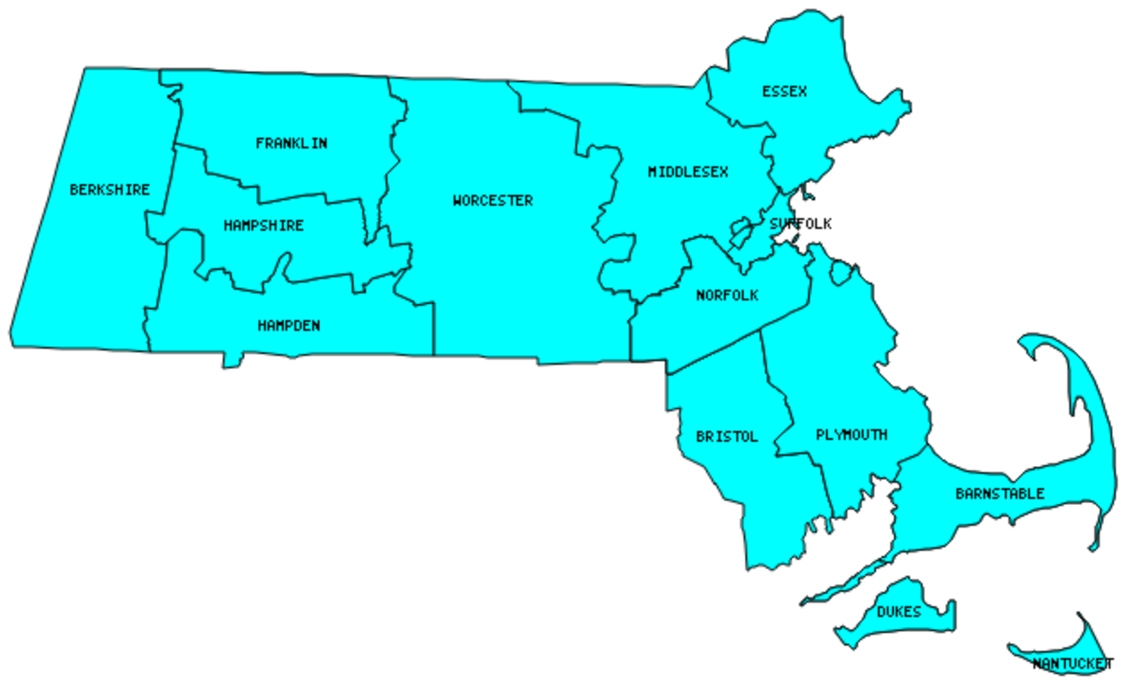 Massachusetts County Outline Map