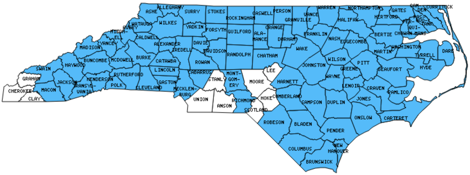 North Carolina Counties Visited (with map, highpoint, capitol and