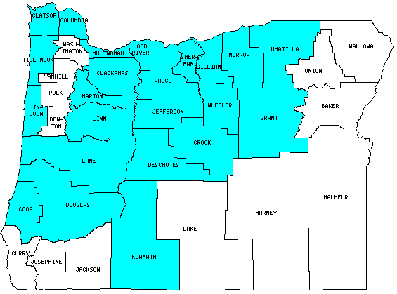 Oregon County Outline Map