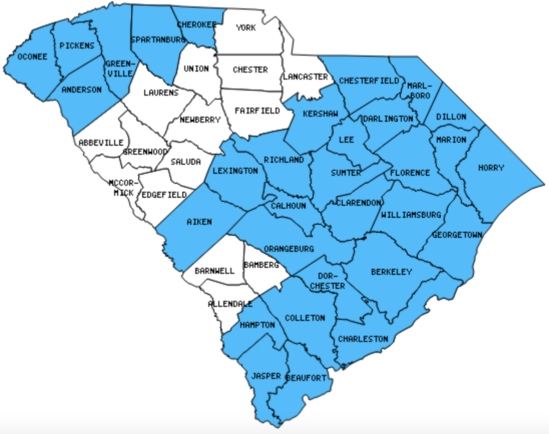 South Carolina County Outline Map