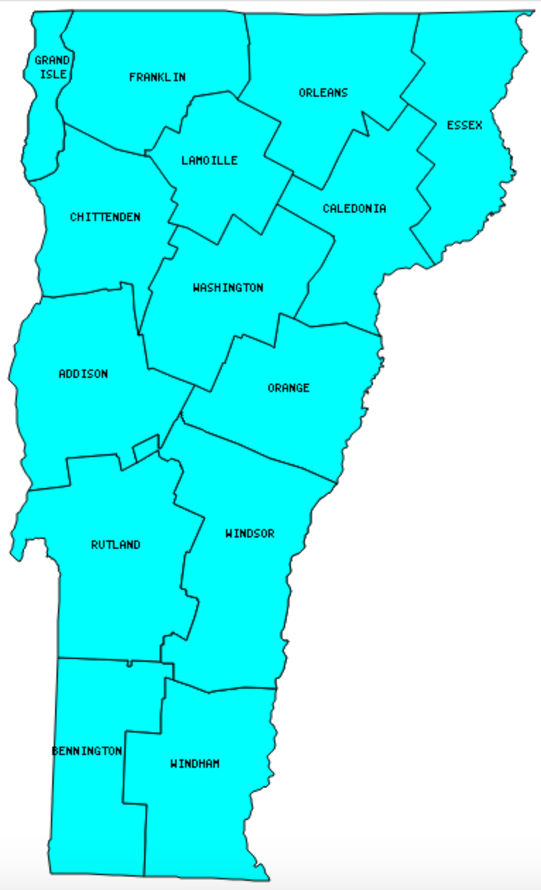 Vermont Counties Visited with map highpoint capitol and facts