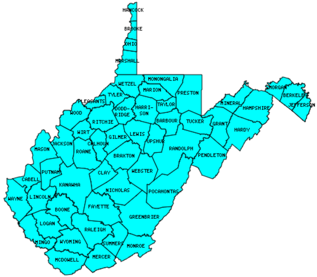 West Virginia County Outline Map