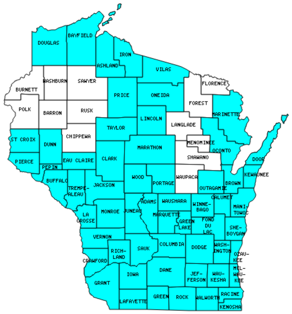 Wisconsin Counties Visited (with map, highpoint, capitol and facts)