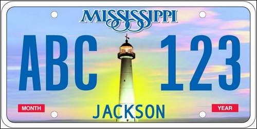 Biloxi Lighthouse on Mississippi License Plate