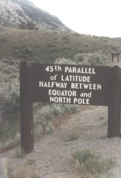 45th Parallel at Yellowstone Montana