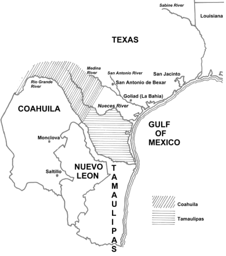 Map Of Texas 1840.7 Flags Over Texas Twelve Mile Circle