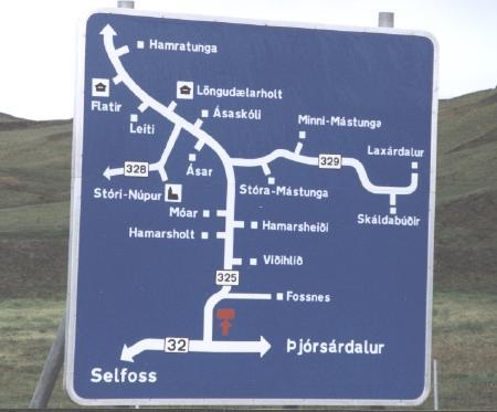 Icelandic Road Sign Map - Twelve Mile Circle