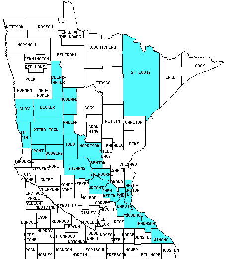 Minnesota Counties Visited (with map, highpoint, capitol and ... on map of california counties, map of de counties, map of oregon counties, map of new york counties, map of sd counties, map of wyoming counties, map of indiana counties, map of al counties, map of nd counties, map of co counties, map ca counties, map of illinois counties, map of tl counties, map of counties in tn, map of missouri counties, map of or counties, map of minnesota counties copyright, map of ut counties, map of tennessee counties, map of ill counties,